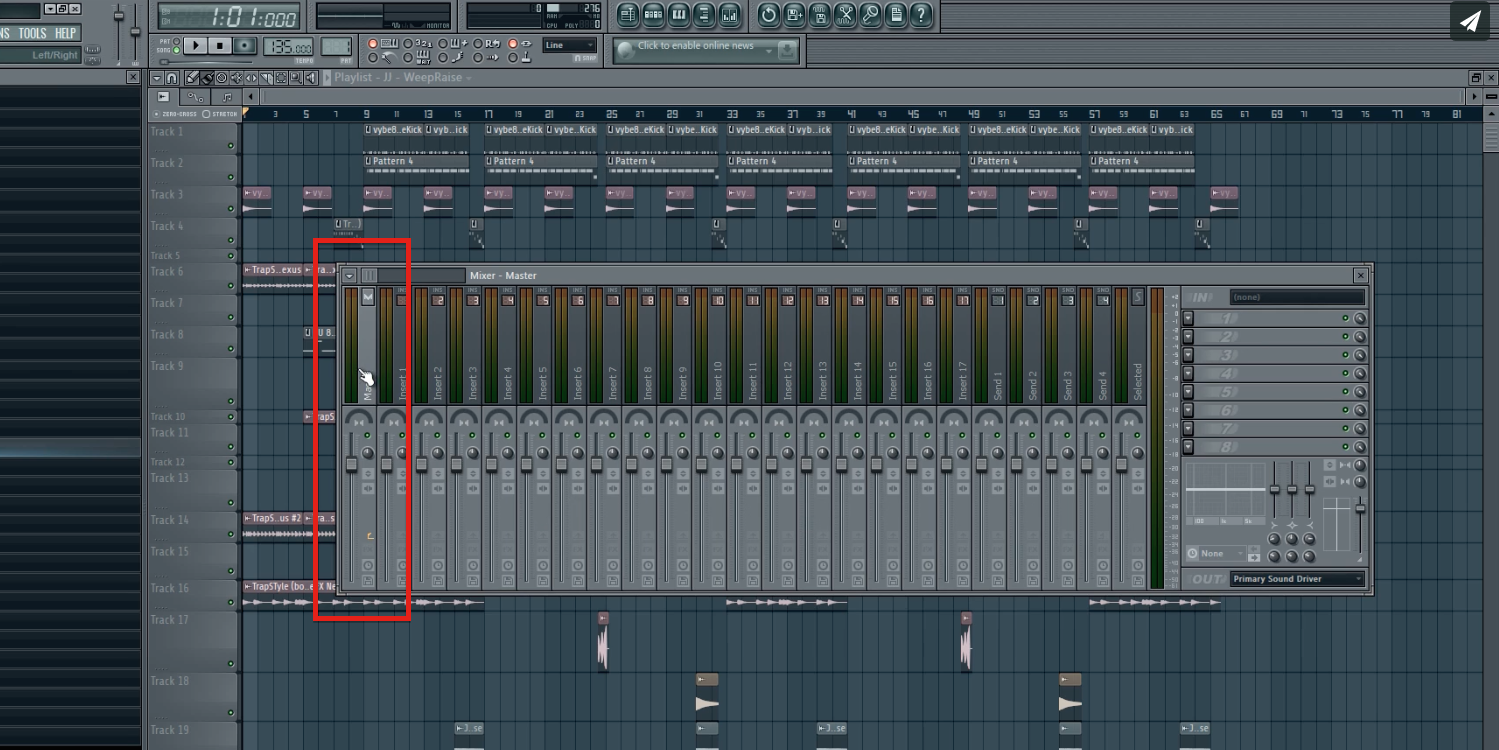 Step 1 - Click on Master Fader in FL Studio